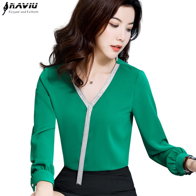 ef395821a83031 2019 Spring New Temperament V Neck shirt women High quality fashion long  sleeve blouse office lady formal Loose plus size tops
