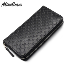 Retro Split Leather Men Women Long Wallets Clutch Luxury Brand Ladies Purse Clutch Casual Men's Coin Card Holder Zipper Wallet