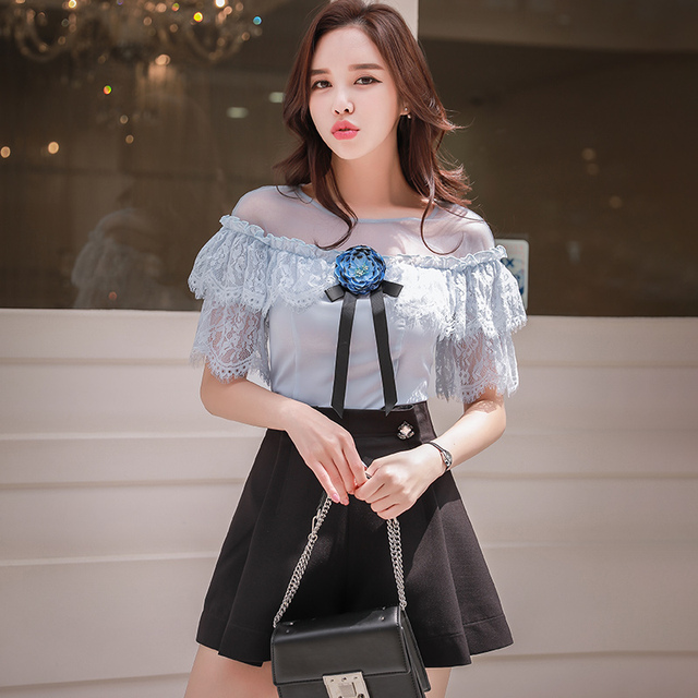 original blusas mujer de moda 2018 brand kimono vintage flower slim lace patches OL elegant party summer blouse women wholesale