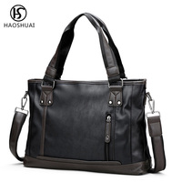 2018 New Retro Leather Shoulder Bag Men Briefcase Business Bag Briefcases Laptop Bag Handbag Casual New