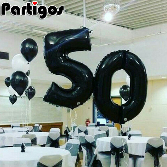 2pcs Lot 40 Inch Number 50 Foil Helium Balloons Adults Aged 50th Party Supplies Birthday