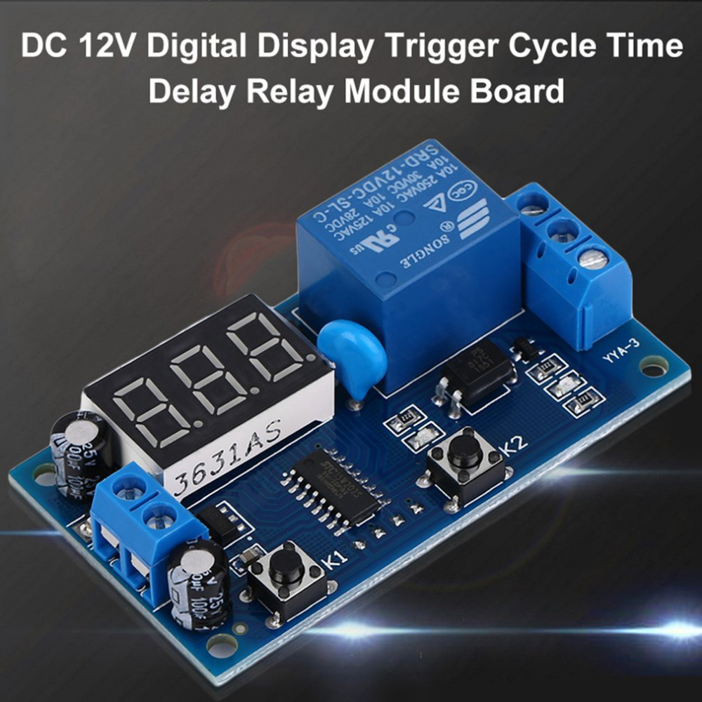 ACEHE Electrical DC 12V Time Relay Module Digital Display Trigger Cycle Time Delay Relay Module Board YYA-3 1pc multifunction self lock relay dc 5v plc cycle timer module delay time relay