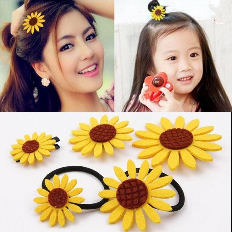 4pcs/lot 2018 Korean Version Of The Sun Flower Hair Headdress Hair Accessories Explosions Sunflower Rubber Band