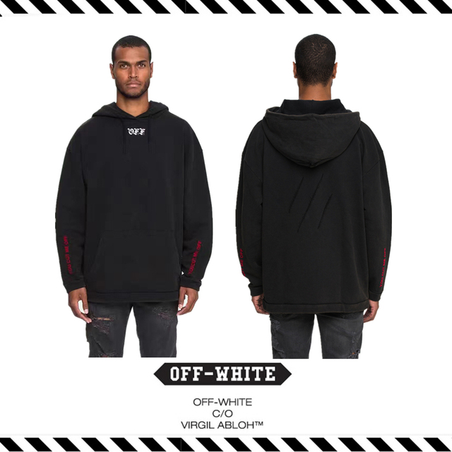 73af02b6b528 Best Version 2016 Fall Winter OFF WHITE CUT OFF HOODIE Sweater with Rips  Red Stamp Men Women Long Sleeve Fleece Cotton Hoodies