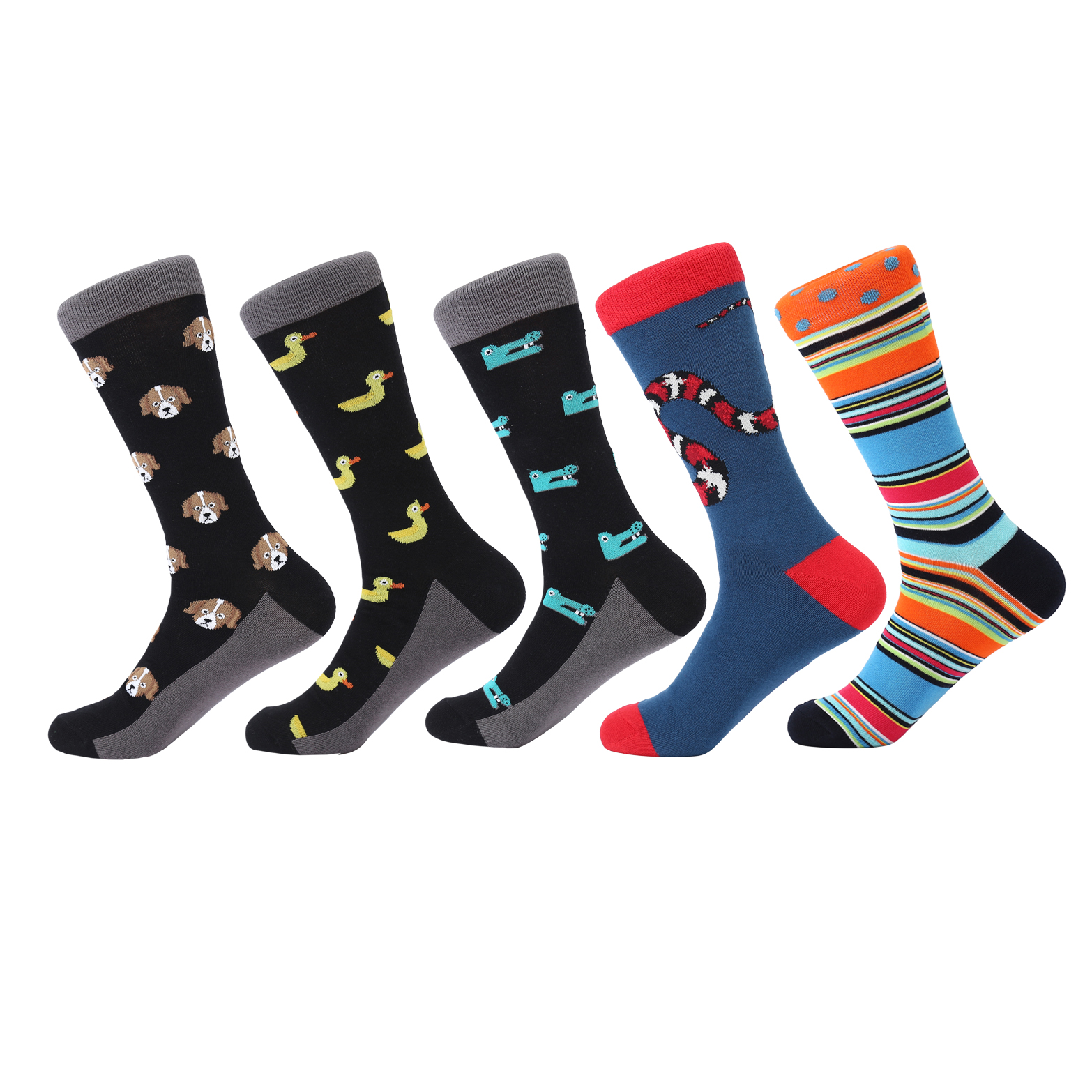 LETSBUY 5 pair/lot Mens happy for funny Socks combed cotton long sock animal style colorful bright men business socks gift sock