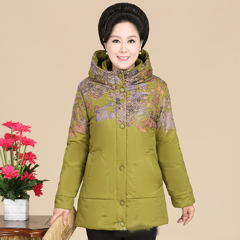 2017 middle-aged women printed cotton clothing large size mother long section thick cotton jacket
