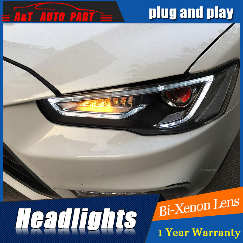 new head light car styling For Mitsubishi LANCER headlights 2009 2016 For LANCER bi xenon lens
