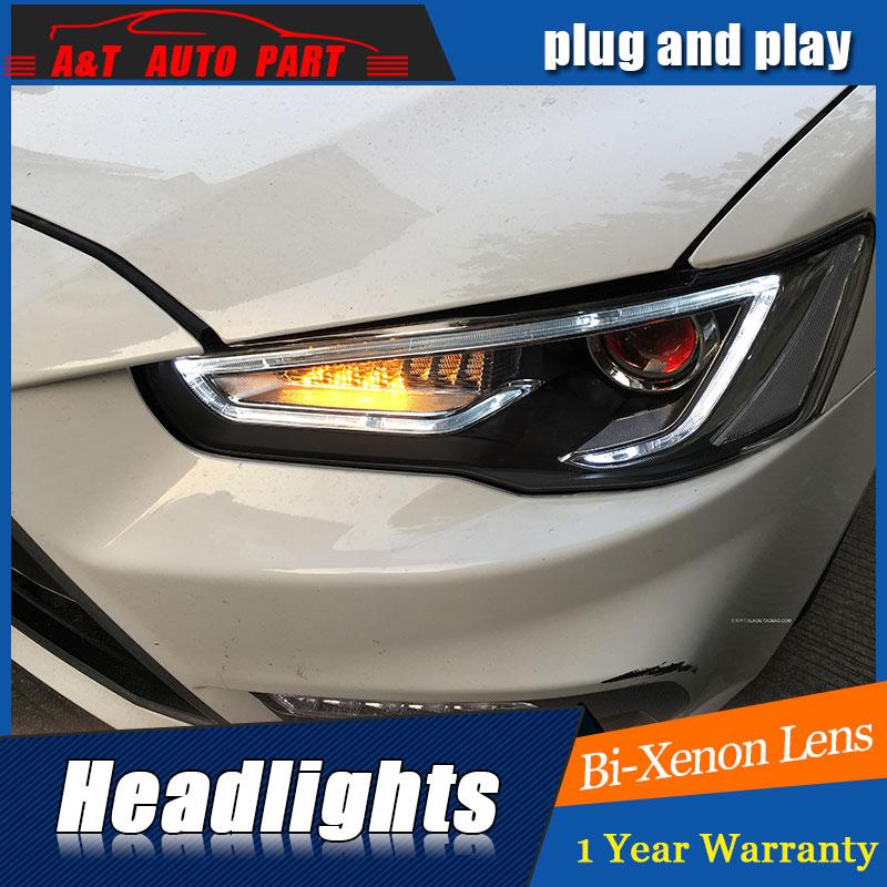 new head light car styling For Mitsubishi LANCER headlights 2009-2016 For LANCER bi xenon lens h7 xenon led drl hid kit headlamp auto pro for honda fit headlights 2014 2017 models car styling led car styling xenon lens car light led bar h7 led parking
