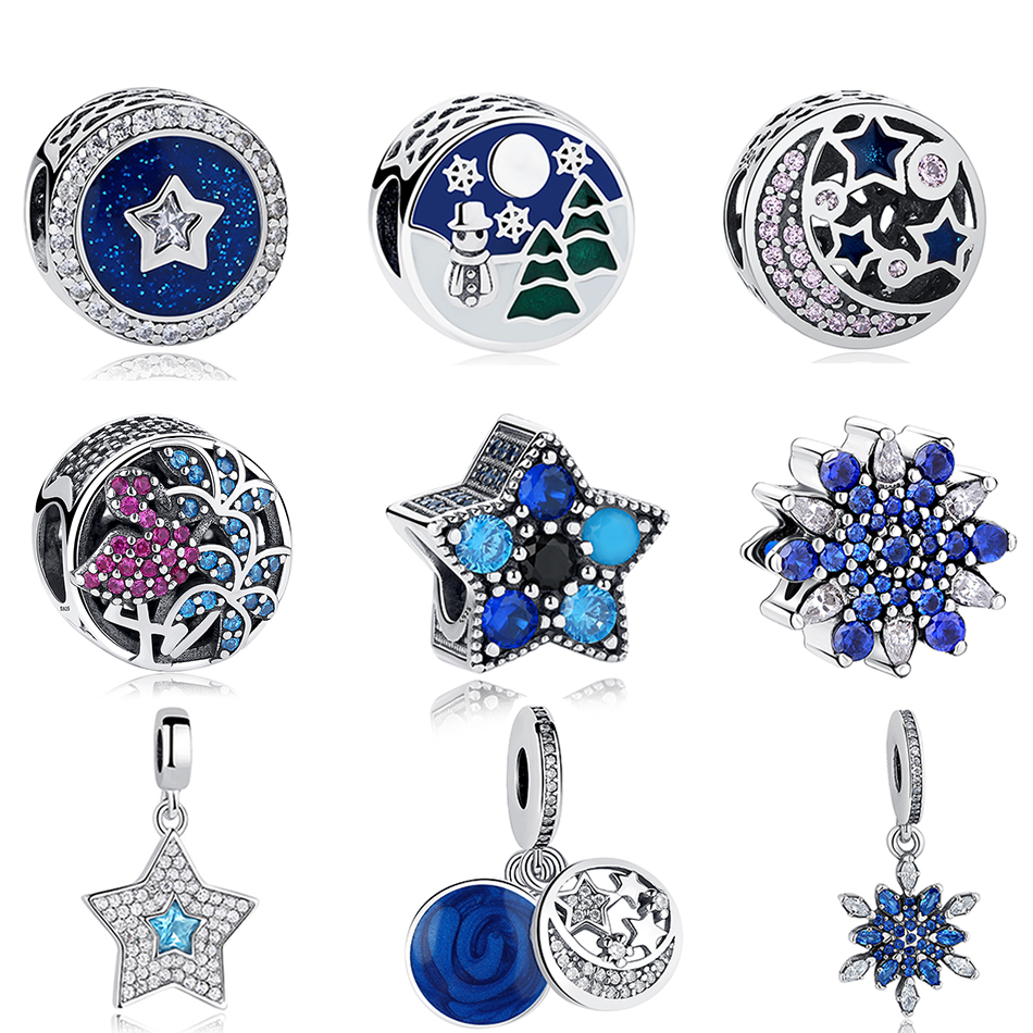Fit Original Pandora Charm Bracelet 100% 925 Sterling Silver Blue Clear CZ Crystal Bead Charm High Quality DIY Authentic Jewelry