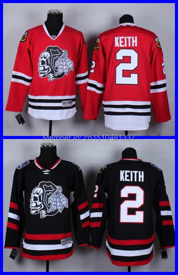 3db98f9a3ae ... closeout skull series 2 duncan keith chicago blackhawks black red ice  hockey jerseys personalized red skull