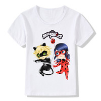 2017 Children Cartoon Miraculous Ladybug Funny T Shirts Kids Summer Tops Boys Girls Short Sleeve Clothes