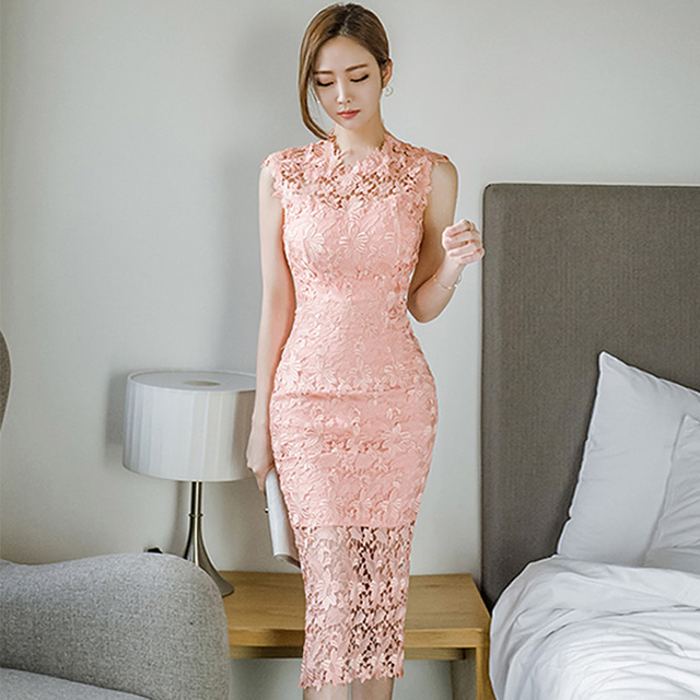3ab7482def3c 2018 Summer Pink Lace Dress Women Sexy Sleeveless Bodycon Pencil Knee-Length  Midi Party Vestidos