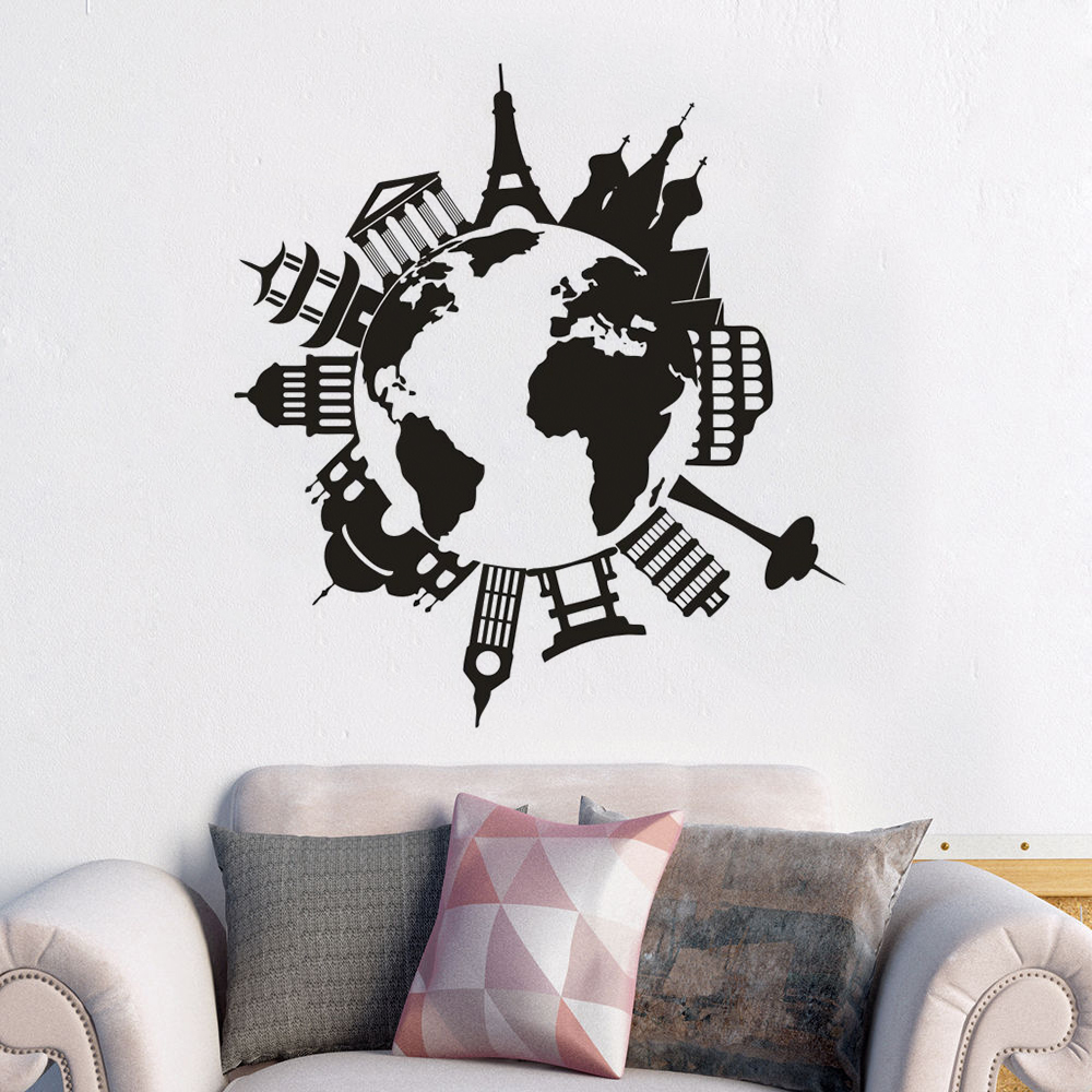 Travel The World Vinyl Wall Murals Popular Places Wall Sticker Home Interior Decoration Travel Maps Car Window Poster Gift AZ684 image