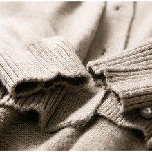 Cashmere short v-neck long-sleeved loose sweater