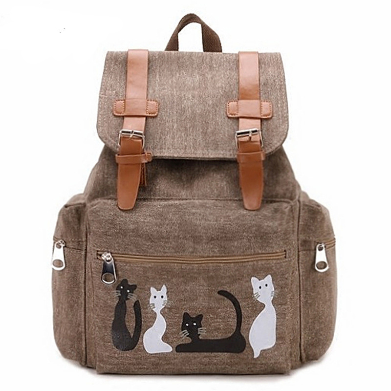 Cute Cat Backpack Women Girls Canvas Backpack Drawstring Printing Backpacks For Teenager Girls Large Capacity School Bag HAF038Cute Cat Backpack Women Girls Canvas Backpack Drawstring Printing Backpacks For Teenager Girls Large Capacity School Bag HAF038