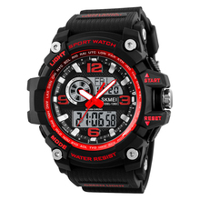 Red men quartz digital wristwatch male military clock dual time hot fashion luxury sport watch water resistant 50M multifunction