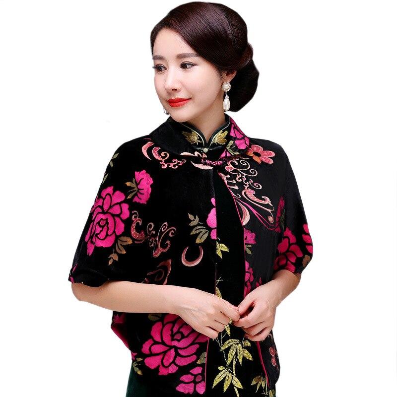 Rouge chinois nouveauté imprimé fleur vêtement d'extérieur pour femmes lâche simple bouton veste manteau velours à la main bouton hauts L-4XL