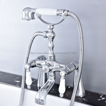 цена на Deck Mounted Bathtub Faucet Double Handle Polished Chrome Mixer Tap Bath Shower Faucets With Hand Shower Ntf763