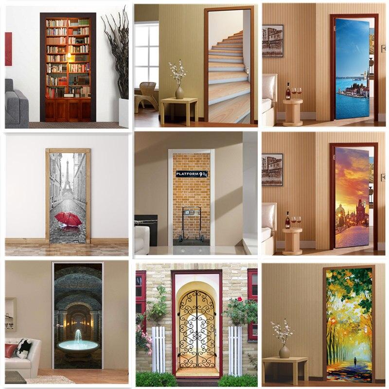 PVC Waterproof Door Sticker Wallpaper Door 3d Self-adhesive Custom Size DIY Wedding Decoration Decal Stickers Porte Doors Renew