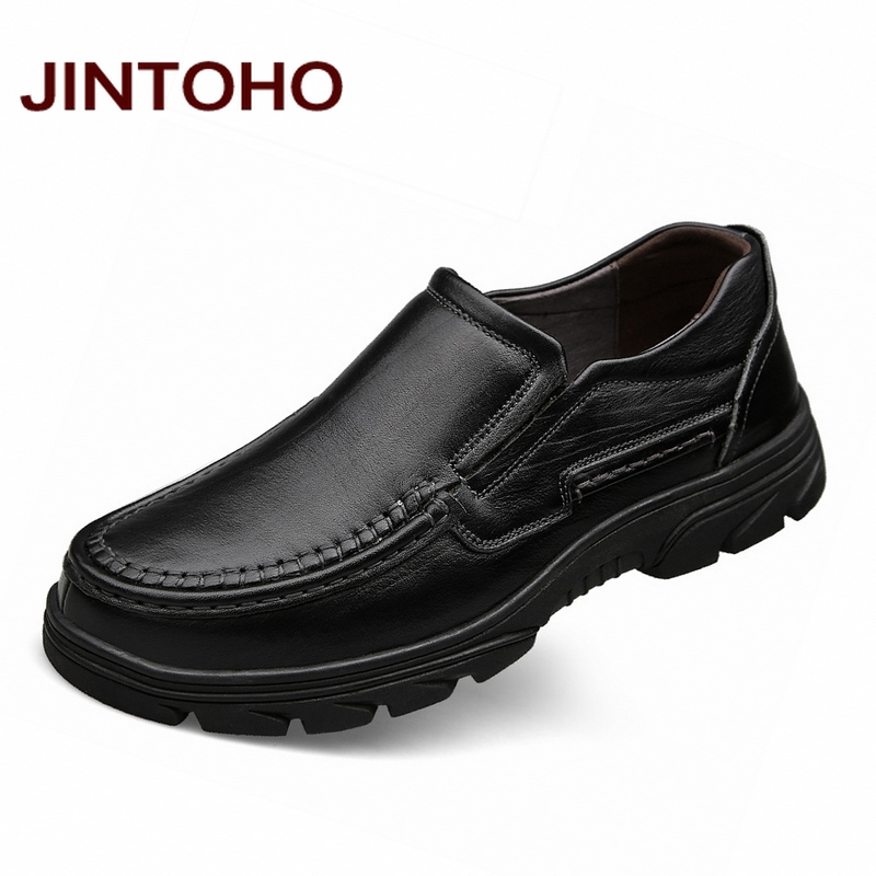 JINTOHO 100 Genuine Leather Mens Dress Shoes Formal Business Men Shoes Black Brand Male Shoes Big