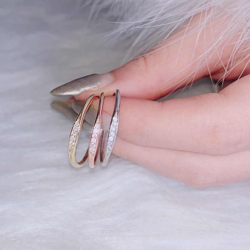 2019 جديد المرأة خاتم الزواج خاتم صغير الزركون مكعب الزركون الوردي الذهب خاتم الخطوبة تشيكوسلوفاكيا خاتم للذكرى 925 فضة