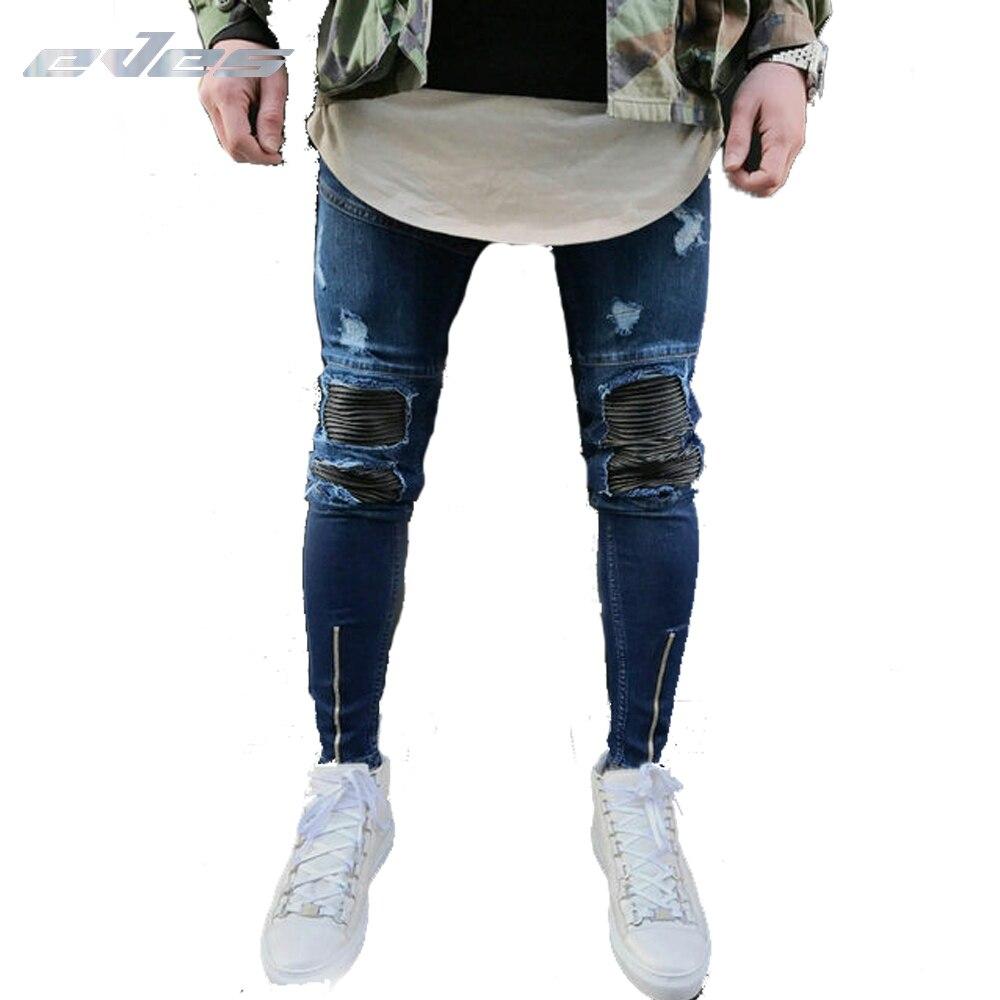 EVES запонки на молнии мужские синие джинсы стрейч эластичные мужские s рваные джинсы с дырами обтягивающие мужские Модные джинсы карандаш дл