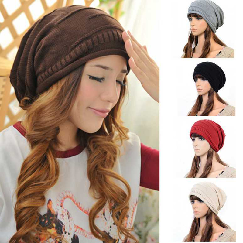 Fashion Women Ladies Unisex Winter Knit Plicate Slouch Cap Hat Knitted   Skullies     Beanies   Casual Ski 5 colors