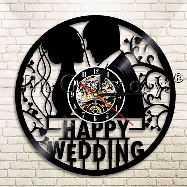 1piece Hy Wedding Ceremony Marriage Vinyl Record Wall Clock Art Gift Home Decorative