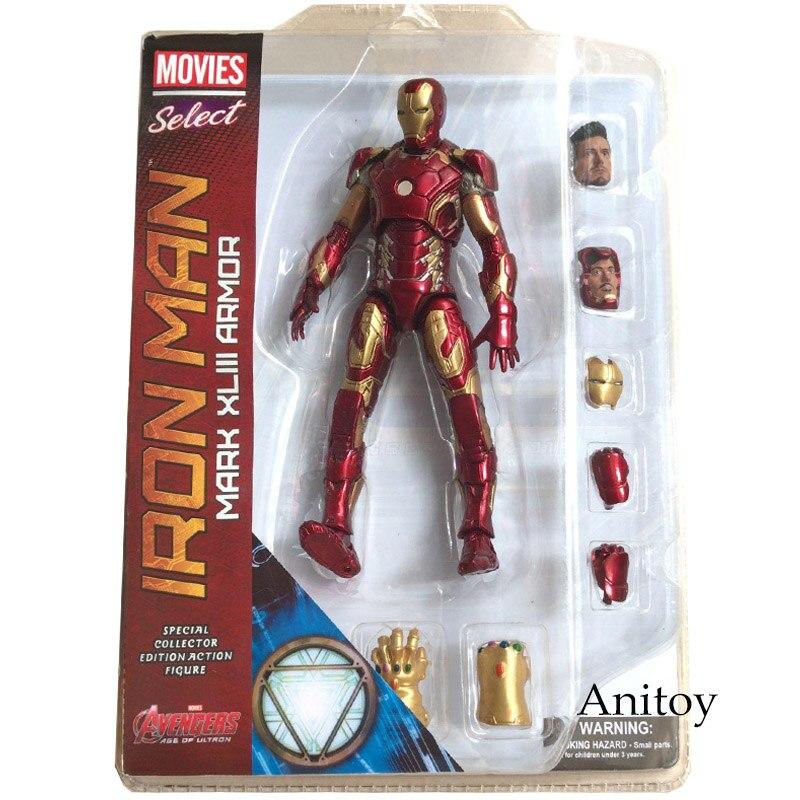 Marvel Select Iron Man MK43 Mark XLIII Armor PVC Action Figure Collectible Model Toy 7 18cm KT067 marvel the avengers stark iron man 3 mark vii mk 42 43 mk42 mk43 pvc action figure collectible model toys 18cm kt395