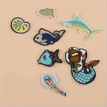 The Sea Animal Fish Badge Repair Patch Embroidered Iron On Patches For Clothing Close Shoes Bags Badges Embroidery DIY