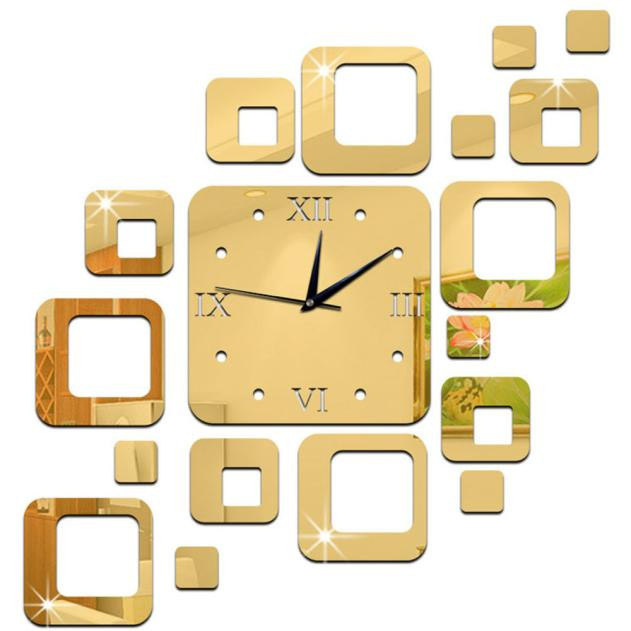 Gold Mirror wall stickers Wall Clock Modern Design Home Decor Mural ...
