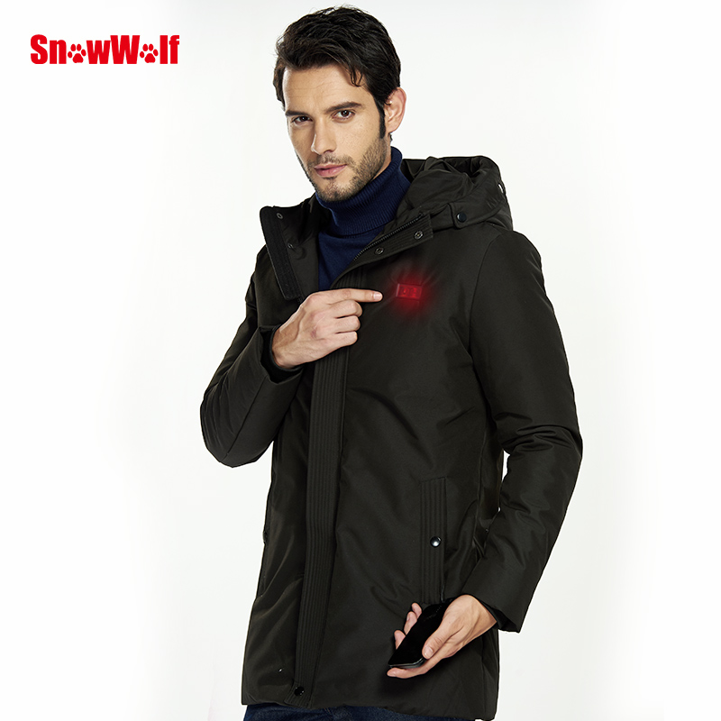 SNOWWOLF 2019 Men Winter White Duck Down Jacket USB Infrared Heating Hooded Jacket Electric Heated Coat For Outdoor Hiking