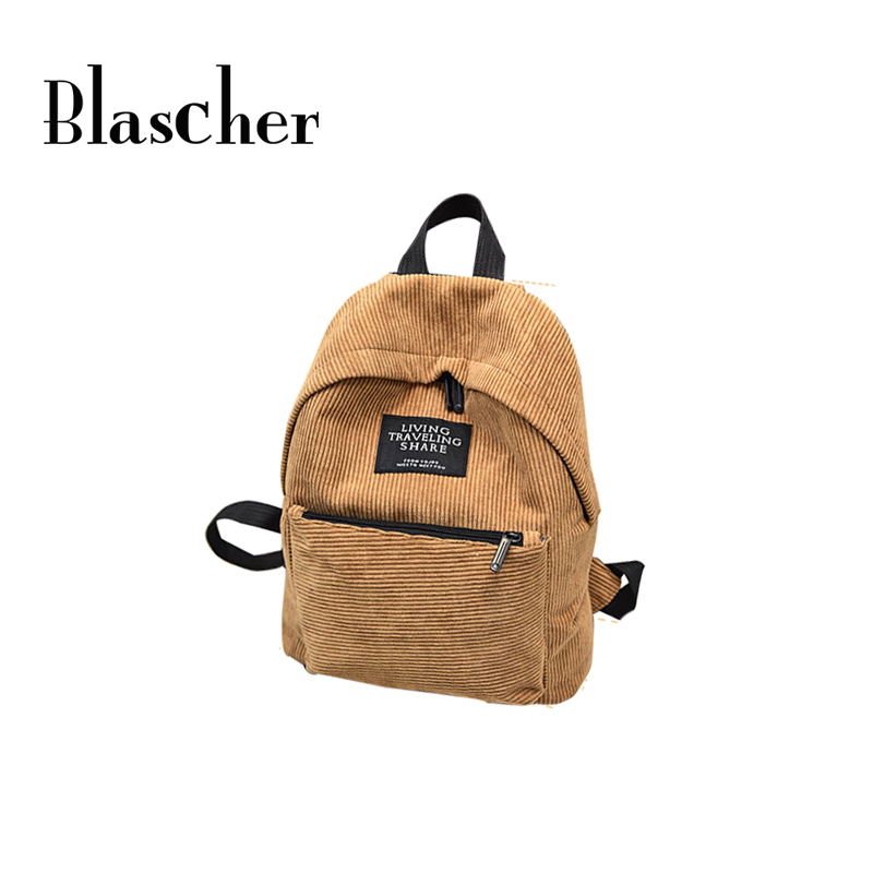 All match Women Retro Corduroy Solid Backpack Simple Girl Schoolbag Fashion Backpack Black Brown Pink HBE88