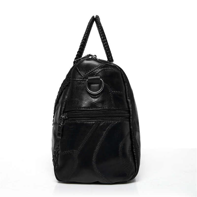 Skórzana torba podróżna o dużej pojemności torebki damskie ze skóry naturalnej moda nit pakiet wielu torby na ramię kurierskie panie tote