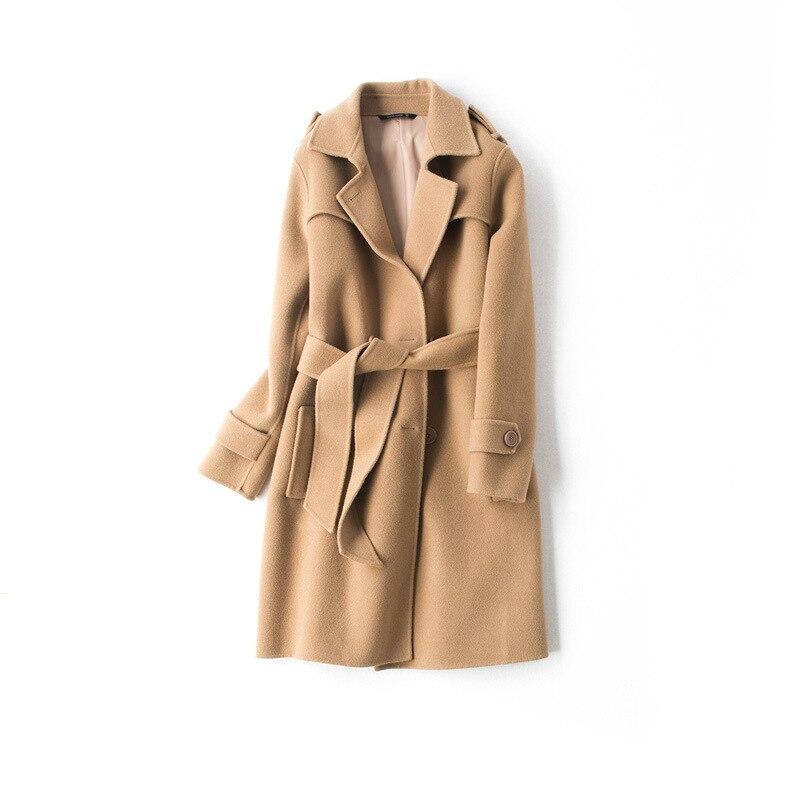 Black Wool Coat Long Loose Turn down Collar Double Breasted Ladies Winter Coats Women Winter Warm