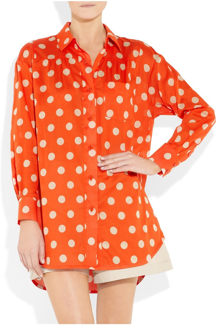 Alexa Chung Street Style,Designer Red Polka Dot Blouse,Women Big Spot cotton-voile shirt Plus Size XL,XXL Top Free Shipping