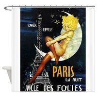 Paris, Eiffel Tower,Moon, Vintage Poster Shower Cu Decorative Fabric Shower Curtain Bath Products Bathroom Decor
