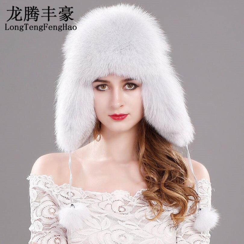 Hot sale Winter women's fox fur hat Bomber Hats cap snow cap fur millinery Russian genuine leather ear protector cap warm beanie