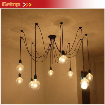 Best Price Retro Rustic Pendant Lights Vintage Creative Spider Lamp Heavenly Maids Scatter Blossoms Lamp Clothing Store Bar