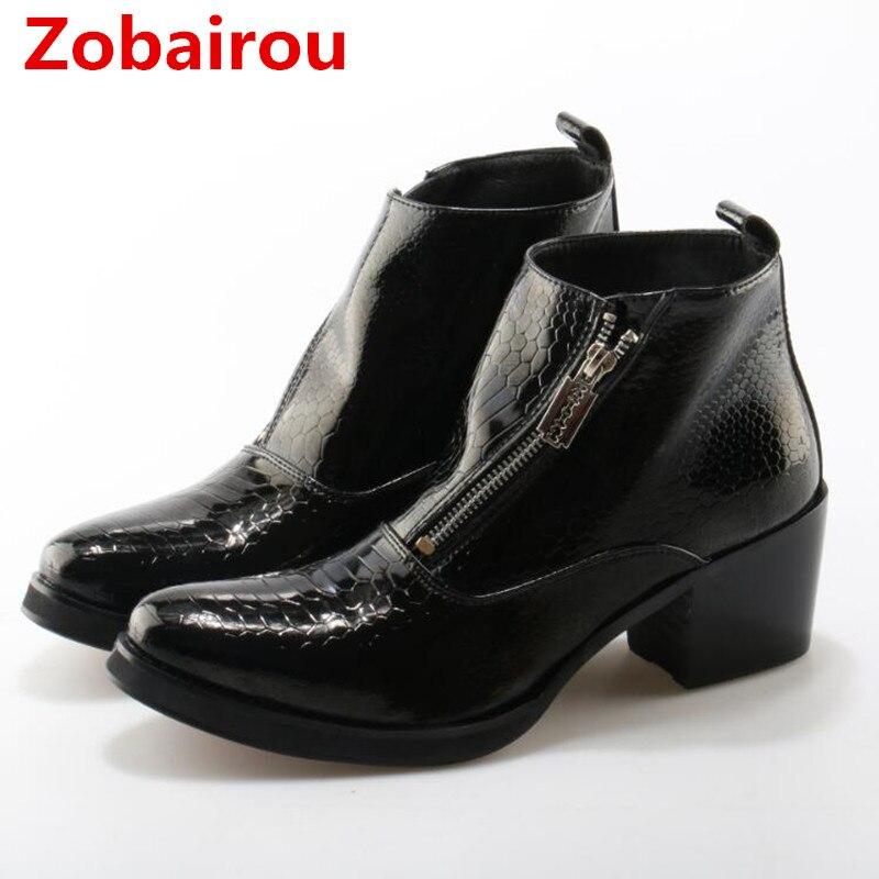 Zobairou Mode Noir Bout Carré Hommes Chaussures Haute Talons Cheville bottes Slip On Chaussures Hommes Robe Haute Qualité Botas Masculina ventes