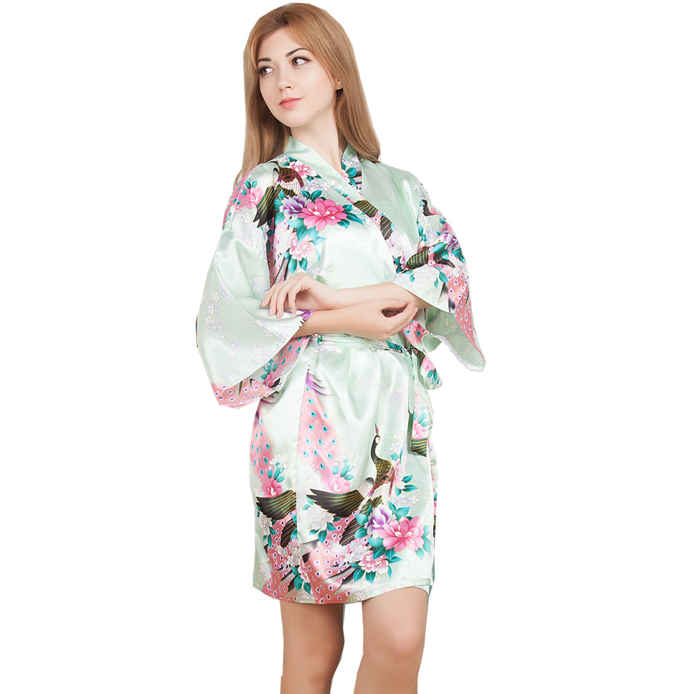 New Wedding Bride Bridesmaid Robe Floral Bathrobe Short Kimono Night Robe Bath Robe Fashion Dressing Gown For Women One Size T11