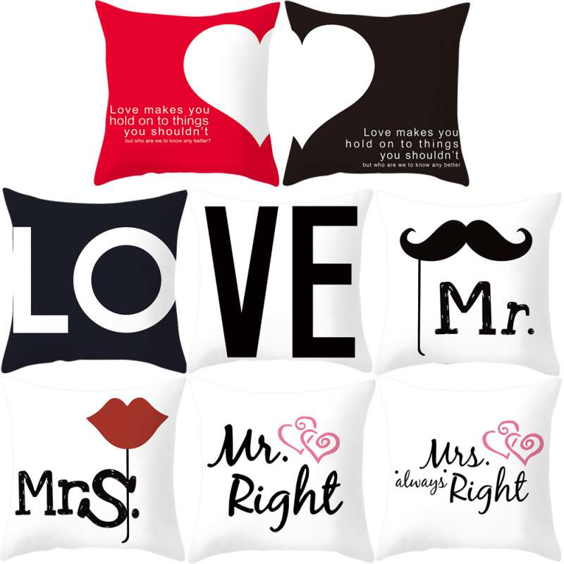 1PC Creative Cartoon Letter Couple Mr & Mrs Mickey Mouse Right Throw Pillow Case Cushion Home Textile Decor New