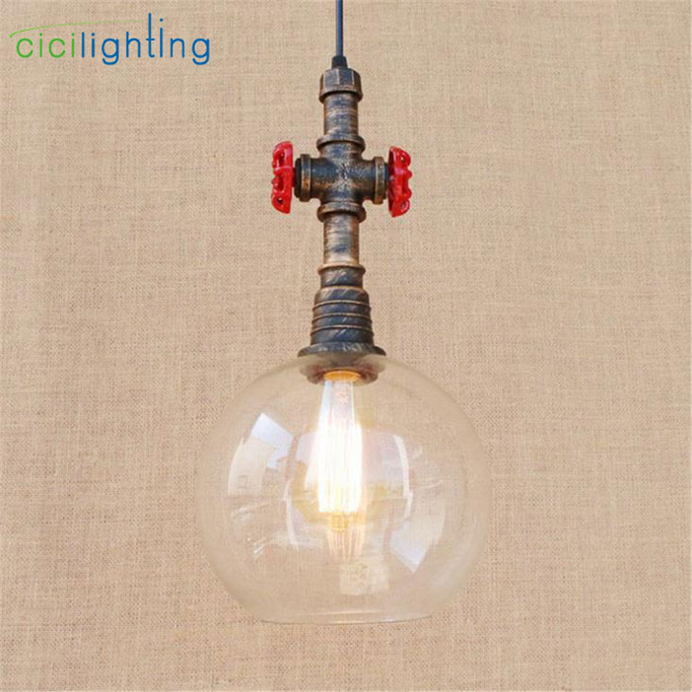 New Arrival Clear Glass Ball lampshade + Metal Pipe pendant lamp E27 Retro water pipe luminaria pendente industrial lighting 4 glass small clear ball paraffin oil lamp indoor outdoor
