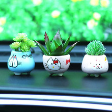 CDCOTN Car Ornaments Simulation Succulent Ceramic Potted Interior Decoration Creative Flower Accessories Supplies