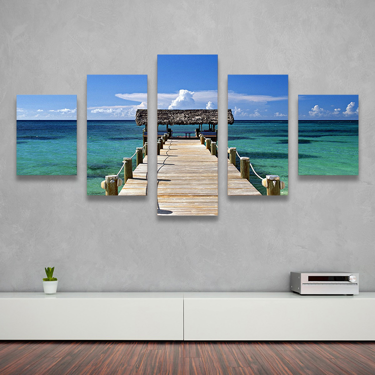 Free Shipping 5 Panel Painting Caribbean Seacape Wooden Bridge Wall Art Print Landscape Picture On Canvas For The Home