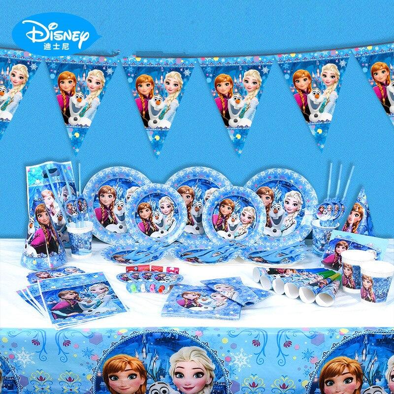 107 pz/lotto Elsa & Anna Tema Del Partito di Evento Stoviglie Bambino Festa di Compleanno Tazza Piatto di Sacchetto del Regalo Tovagliolo Mini Carta di Invito di alimentazione
