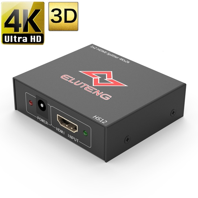 ELUTENG 4K HDMI 1.4 Splitter 1x2 Support 3D HDCP HDMI 1 In 2 Out 1080P Selector HDMI Distributor for HDTV PC PS4 PS3 XBox TV