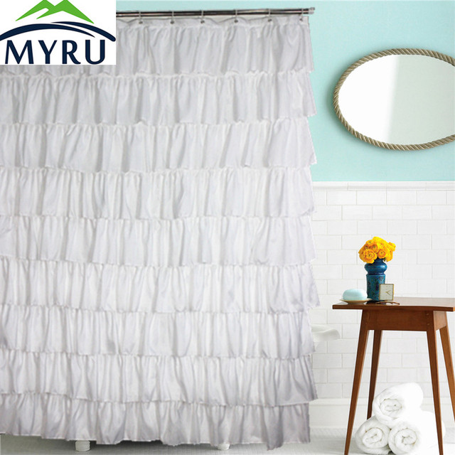 MYRU country style solid color shower curtains waterproof polyester ...
