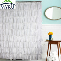 MYRU country style solid color shower curtains waterproof polyester white lace curtains dressing Princess bathroom curtain