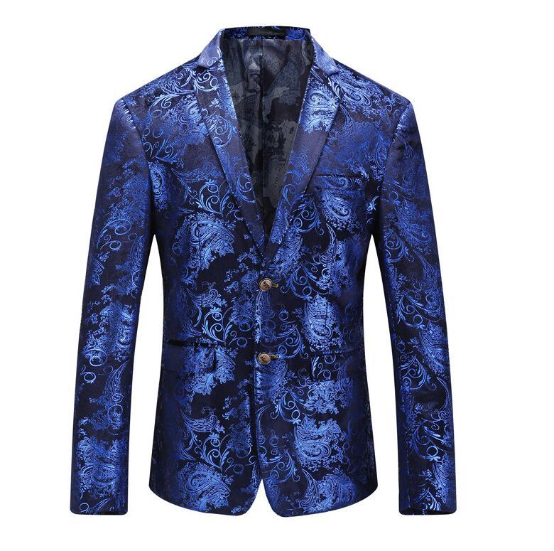 Floral Blazer Men 2018 Őszi Férfi Velvet Blazers Vörös Kék Arany - Férfi ruházat